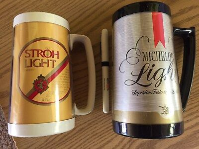 """Vintage Stroh Light Thermo Serv Plastic Beer Cup Mug Stein 6 1/4"""" Made In USA"""