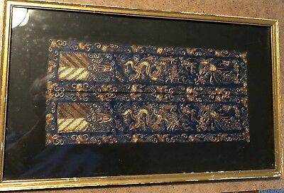 18Th Century Chinese Gold Silk Embroidery Dragon Pair Framed Robe Cuffs