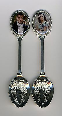 Gone with the Wind 2 Silver Plated Spoons Featuring Rhett and Scarlett GWTW