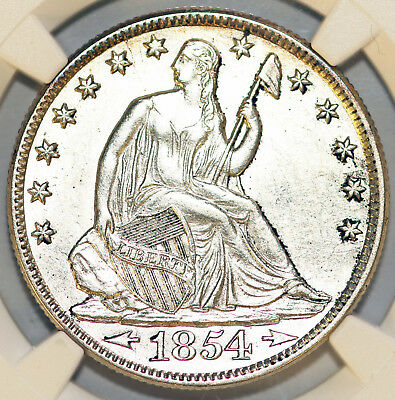 1854 Seated Liberty Half Dollar NGC AU Details Cleaned
