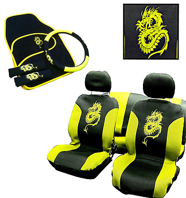 New 15Pc Yellow Dragon Design Full Car Seat Cover Set Vehicle Accessory Pack