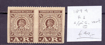 ! Chile 1894. Registration Imperforated Duo Stamp. YT#R1. €+40.00 !