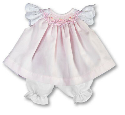 """For 15"""" Baby Doll Clothes Pink Smocked Dress Eyelet Angel Sleeves & Bloomers"""