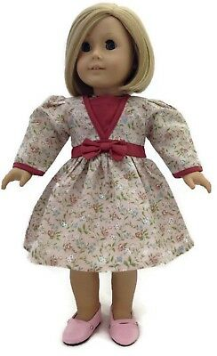 Pink Floral Dress with Bow for 18 inch American Girl Doll Clothes