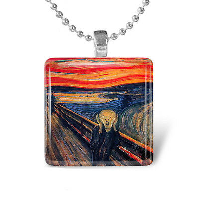 THE SCREAM Edvard Munch Art Painting Glass Tile Pendant Necklace
