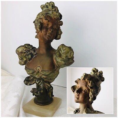 """Gibson Girl Bust Victorian Statue Antique Metal Specter Bolted Marble Base 10""""t"""