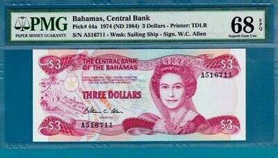Bahamas $3 Banknote, 1974 Queen Elizabeth II, Superb,Gem    ,Uncirculated, PMG68