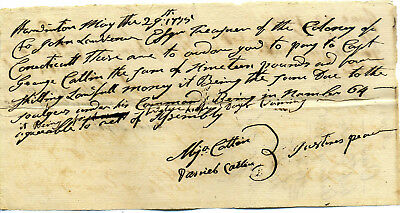 Revolutionary War Connecticut Pay Order 1775 Capt George Catlin  Due His Company