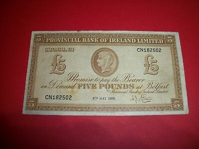 1959 PROVINCIAL BANK of IRELAND FIVE POUND BANKNOTE BELFAST