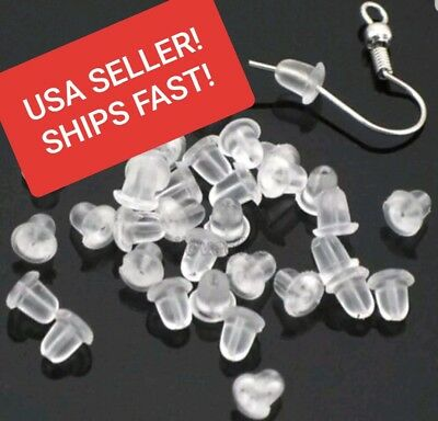1000 Heavy Duty Rubber Earring Backs Sleeves Holders Stoppers Nuts Silicone Cone