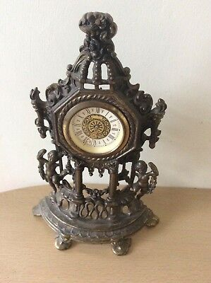 Vintage Ornate Baroque Style Brass Metal Mantle W. Germany Clock Needs Attention