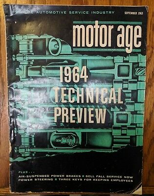 Vintage September 1963 Motor Age Magazine 1964 Technical Preview