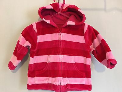 Baby Girls Mothercare Pink Striped Velour Hoody Jacket 0-3🌈