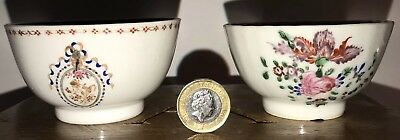 Antique Chinese Export Famille Rose Amorial Qing Porcelain Bowls 18th Or 19th C