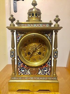Antique French Champleve Cloisonne Mantle Clock By Samuel Marti C1880