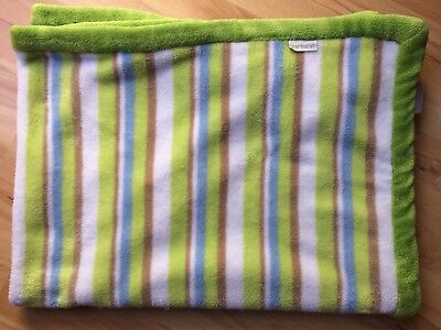 Carter's Plush Green White Brown Blue Striped Blanket Baby Security Fleece Soft