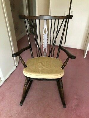 Vintage Wooden Rocking Chair With Cushions