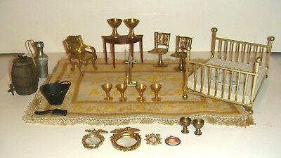 Vintage Lot Dollhouse Brass Bed Mirrors, carpet Whisky / water Barrel Miniatures