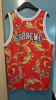 274ad76d2 Supreme x Nike Foamposite Tank Top Jersey Red Gold SS14 Basketball Vest  Large