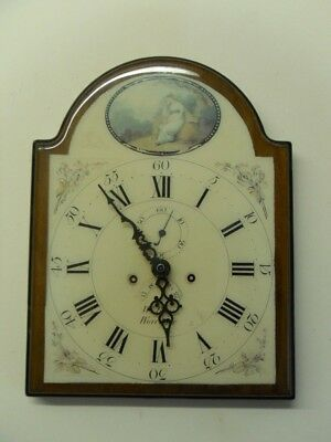 Antique Look Quality Wood & Inlay ceramic Quartz wall clock with picture lady