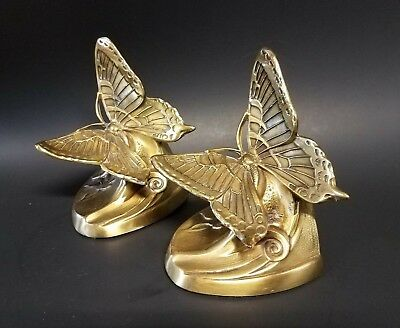 Pair Of Vintage Antique Brass Bronze Butterfly Bookends  -- Must See!!!