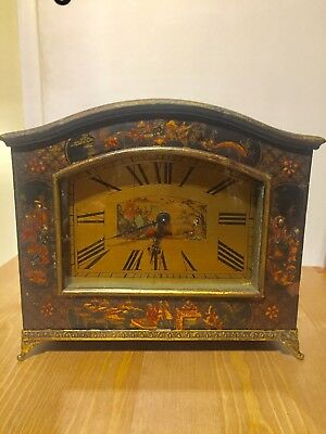 Antique Art Deco Chinese Style Laquered French Clock. C1900