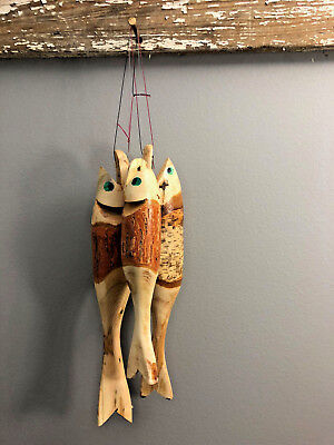 NEW Hand Carved Rustic Wooden Fish on String Fishing GREAT Lake Cabin Decor Lot