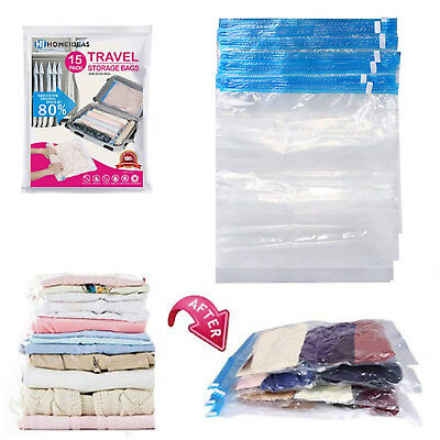 15 Pack Travel Vacuum Storage Large Bags Space Saver Roll Up Triple Seal Clothes