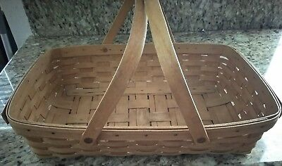 "VINTAGE 18"" LONGABERGER GATHERING BASKET WITH DOUBLE HANDLES - SIGNED dated 1993"