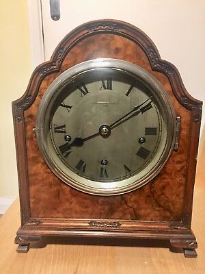 Antique Englich Made Small Burr Wallnut 5 Gongs Mantle Clock . C1890