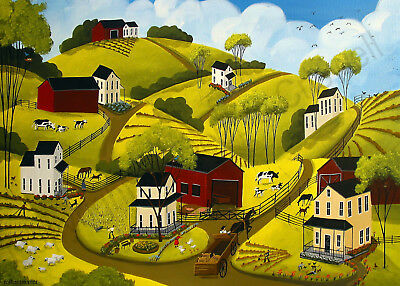 Spring landscape farm country planting barn Giclee ACEO print folk art Criswell