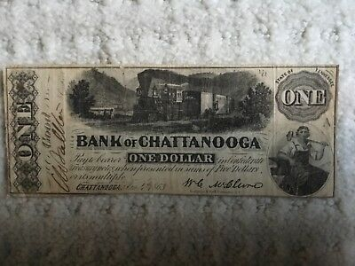 1863 $1.00 Bank of Chattanooga, TN Confederate Treasury Note, Signed !!!