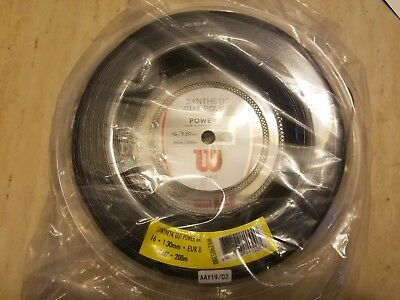 2 Wilson Synthetic Gut Power 16G Tennis String Reels 660ft/200m  Black