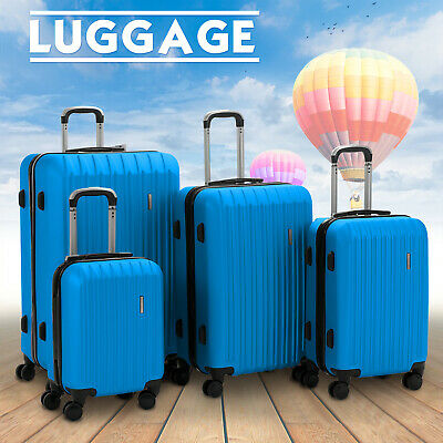 "4 Piece ABS Luggage Set Light Travel Case Hardshell Suitcase 16""20""24""28"" Blue"