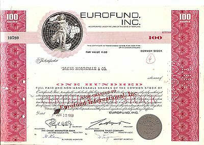 100sh 1969 OLD CANCELED STOCK CERTIFICATE EUROFUND, INC issued to BRUNS NORDEMAN
