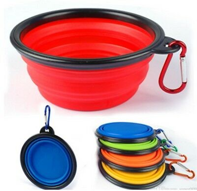 6x Portable Travel Collapsible Foldable Pet Dog Bowl for Food & Water Bowls Dish
