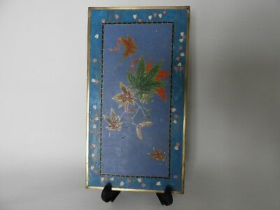 Unusual Japanese disk /rectangular charger - cloisonne, maple leaves - perfect