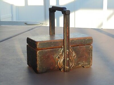 Nice Early Rare Vintage Asian Antique Old Chinese Wood Box Primitive Basket