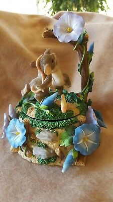 Charming Tails Music Box With Dancing Mice & Morning Glorys Excellent Condition