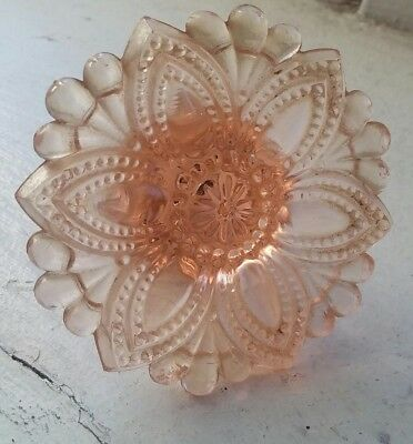 Pink-ish Glass Hardware Drawer Pull Handle Flower 1940s  Antique Vintage