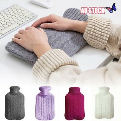 2 Litre Rubber Knitted Cover Hot Water Bottle Bag Cover Winter Bed Warmer Large