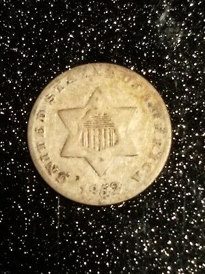 1852 3 Cent Silver Trime, nice VF