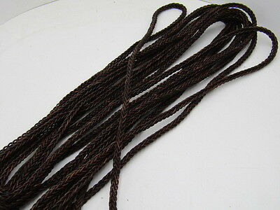 """Leather braided square cord.... 5 yards of Antique brown, 8 mm (5/16"""") ,  v591"""