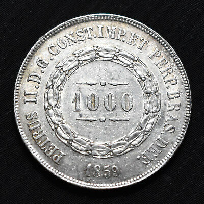 1859 Brazil, Pedro Ii,  1000 Reis, Km465, About Uncirculated Details