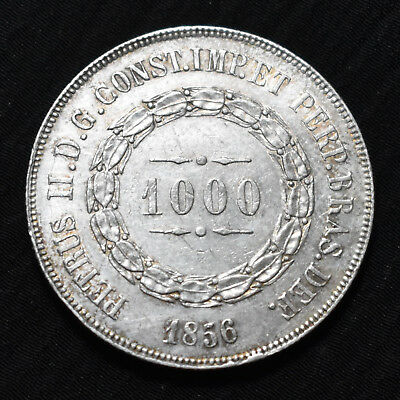 1856 Brazil, Pedro Ii,  1000 Reis, Km465, About Uncirculated Details