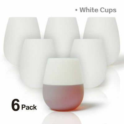 6 Pack Silicone Wine Glasses Unbreakable Stemless Dishwasher Safety Wine Cups