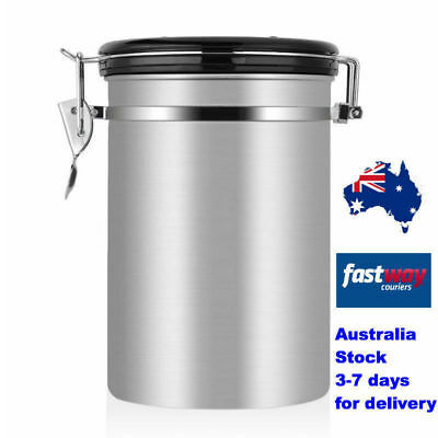 Coffee Container 1000ml Airtight Stainless Steel Vacuum Sealed Storage Canister