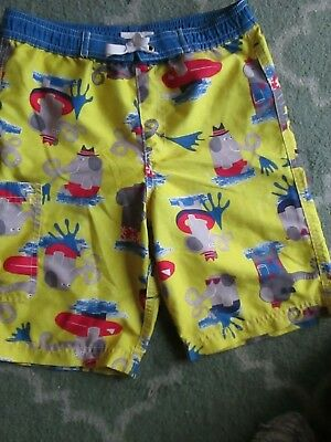 Hanna Andersson Yellow Elephant Swim Shorts/Trunks Size 120