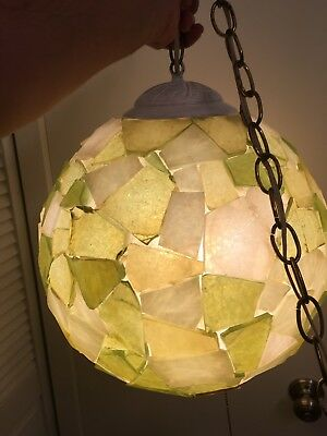 """Vintage 13"""" Mid Century Hanging Chunky Lucite Resin Rock Candy Swag Light/Lamp"""