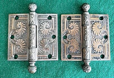 "Pair Of Antique Cast Iron Door Hinges Restored  3 1/ 2"" X 3 1/2""  (N39)"